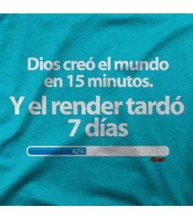 camisetas modelo DIOS CREO EL MUNDO EN 15 MINUTOS